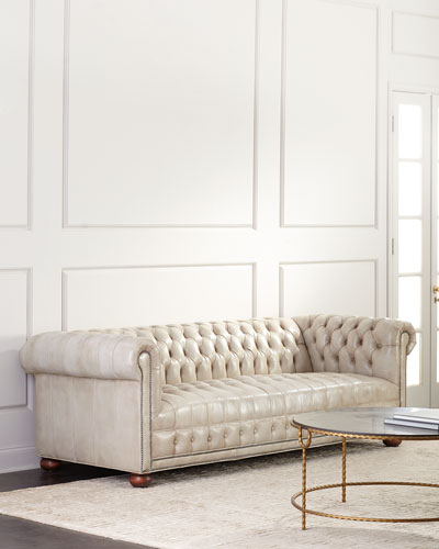 Nailhead Trim Leather Sofa | horchow.com