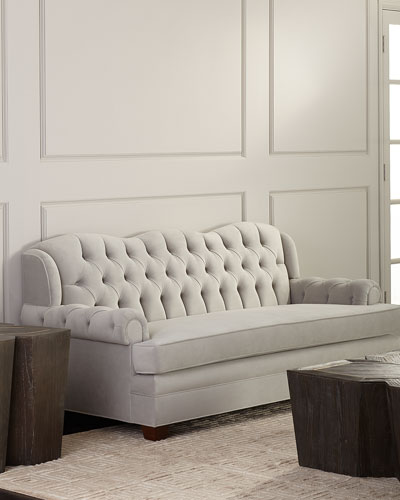 Miraculous Wood Tufted Sofa Horchow Com Pdpeps Interior Chair Design Pdpepsorg