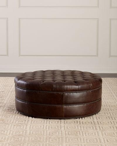 Astounding Top Grain Leather Ottoman Horchow Com Theyellowbook Wood Chair Design Ideas Theyellowbookinfo
