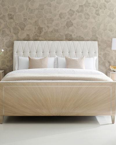 Linen Headboard Bed Horchow Com, Queen Upholstered Platform Bed Frame With Legs Jubilee Mattress