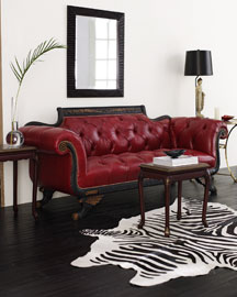 Red Tufted-Leather Sofa : leather sofas : settees & chairs : bath : shop by room - Horchow Home Interiors