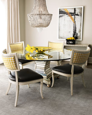 Massoud Calvin Chair & Erlinda Dining Table