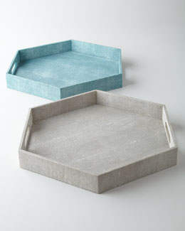 Faux-Shagreen Hex Tray