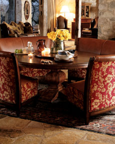Leather Floral Banquette & Chair
