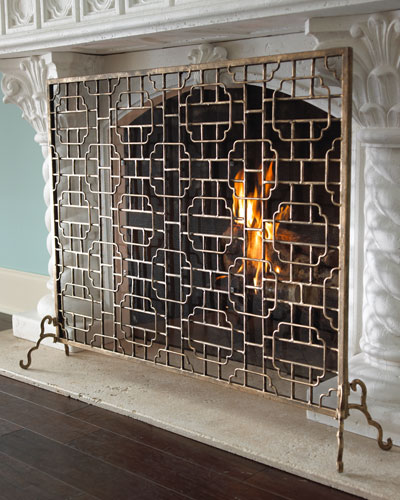 Antique Fireplace Screen >> Handcrafted Gold Fireplace Screen | horchow.com