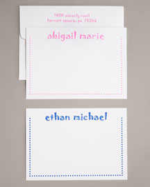 Horchow Personalized Dot-Border Note Cards & Envelopes