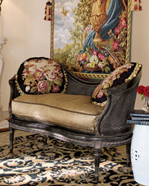 Black Cane Settee Aubusson Pillow settees love seats settees chairs bath shop by room Horchow Home Interiors from horchowhomeinteriors.com