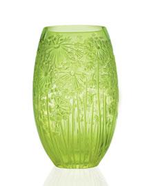 """Horchow Lalique Green """"Bucolique"""" Vases"""