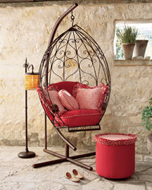 Swing On Stand, Cushion Set, Ottoman, & Pillows -  Horchow