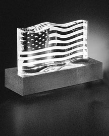 Steuben Steuben Crystal American Flag & Granite Base