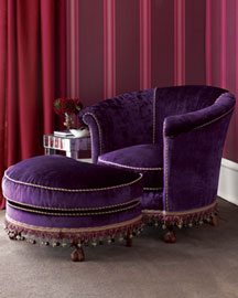 Velvet Tub Chair & Ottoman : chairs : seating : old hickory tannery : furniture : designer index : tabletop : shop by category - Horchow Home Interiors