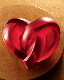 Horchow Lalique Red Crystal Heart