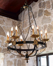 Horchow Handcrafted Black & Gold Chandelier