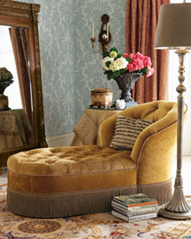 Velvet Tufted Chaise : settees & love seats : settees & chairs : bath : shop by room - Horchow Home Interiors