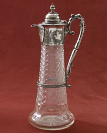 Horchow Engraved and Cut Glass Claret Jug, c. 1885