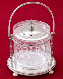 Horchow Engraved Glass Biscuit Barrel, c. 1885