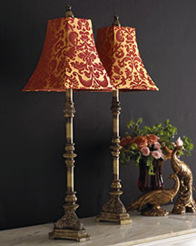 Horchow Two Cinnabar Buffet Lamps