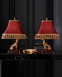 Horchow Pair of Cheetah Lamps