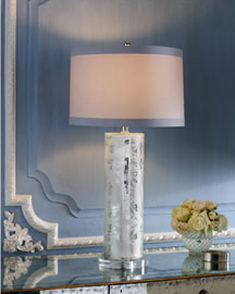 Horchow Damask Etched-Glass Lamp