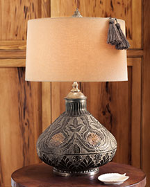 Horchow Embossed Floral Lamp