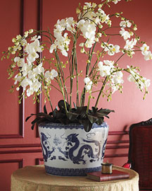 Horchow Faux Orchid in Porcelain Pot