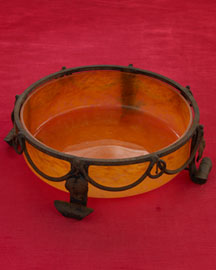 Horchow Orange Bowl in Holder, c. 1950