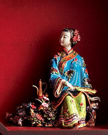 Horchow Lady w/ Wine Ceramic Figurine