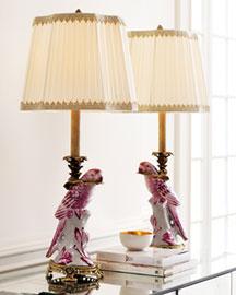 Horchow Pink Parrot Lamp