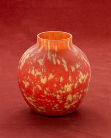 Horchow Red & Yellow Pate de Verre Vase, c. 1930