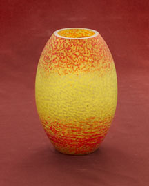 Horchow Yellow & Orange Pate de Verre Vase, c. 1930