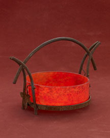 Horchow Orange & Red Pate de Verre Bowl in Iron Stand, c. 1930