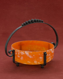 Horchow Orange & White Pate de Verre Bowl in Iron Stand, c. 1930