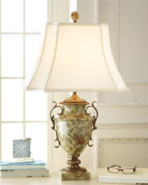 Horchow Hand-Painted Floral Lamp