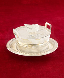 "Horchow Covered Butter Dish with ""Butter"" Finial, c. 1895"