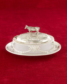 Horchow Covered Butter Dish with Cow Finial, c. 1870