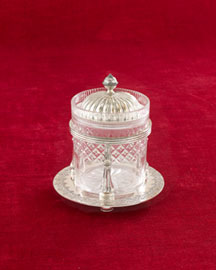 Horchow Cut Glass Jam Pot with Stand, c. 1880