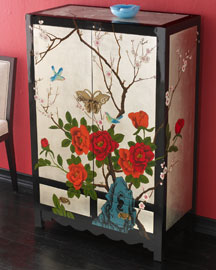 Asian Silver-Leaf Cabinet : accent furniture : furniture : clearance : shop sale - Horchow Home Interiors