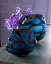 Set of Two Cobalt Blue Vases : vases & urns : decorative : bar & foyer : shop by room - Horchow Home Interiors
