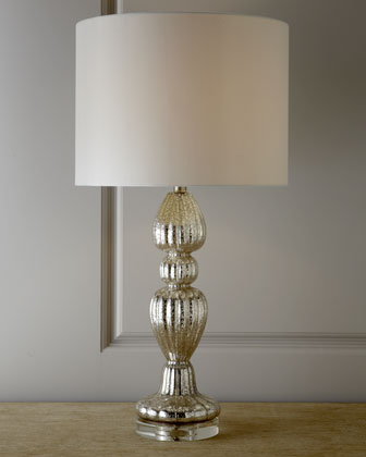 Mercury Glass Lamp with Crystal Base