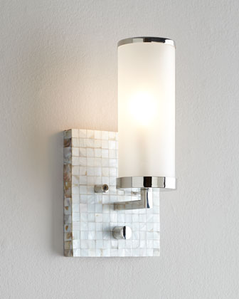 Square Mother-of-Pearl Wall Sconce