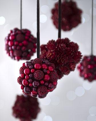 """Six """"Bordeaux"""" Berries & Pine Cone Christmas Ornaments - Horchow"""